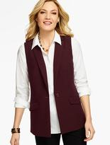 Talbots Notched-Collar Vest-Double Weave