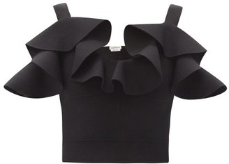 Alexander McQueen Ruffled-shoulder Knitted Cropped Top - Black