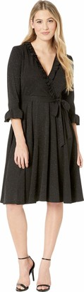 Gabby Skye Women's 3/4 Bell Sleeve V-Neck Front Tie Ruffled A-line Dress