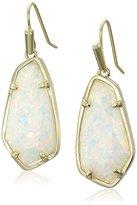 Kendra Scott Camelia Gold White Kyocera Opal Drop Earrings