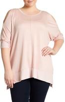 Bobeau Long Sleeve Warm Shoulder Shirt (Plus Size)