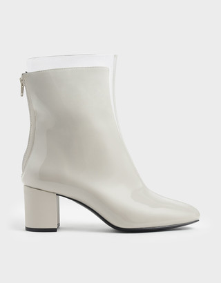 Charles & Keith See-Through Effect Block Heel Calf Boots