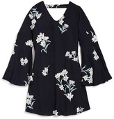 Aqua Girls' Floral Print Bell Sleeve Dress , Sizes S-XL - 100% Exclusive