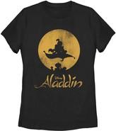 Juniors' Disney's Aladdin Vintage Carpet Ride Sunset Movie Logo Graphic Tee