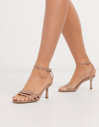 New Look square toe strappy stiletto sandal in oatmeal
