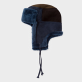 Paul Smith Men's Navy Colour-Block Sheepskin Chapka Hat