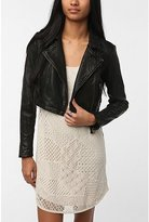 Silence & Noise Cropped Leather Moto Jacket