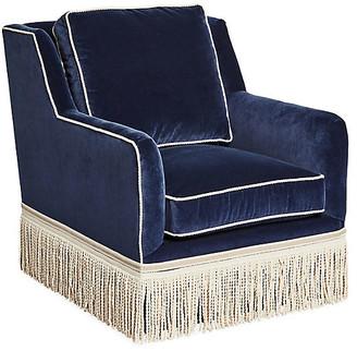 One Kings Lane Portsmouth Swivel Chair - Navy Velvet