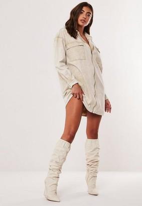 Missguided Sand Utility Pocket Zip Oversized Denim Shirt Dress