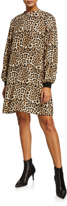 ATM Anthony Thomas Melillo Leopard-Print Silk Charmeuse Bishop-Sleeve Dress