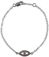 Ileana Makri IaM by Diamond and Ruby Evil Eye Bracelet - Oxidized Sterling Silver