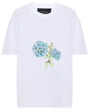 Paper London Embroidreed Cotton-jersey T-shirt