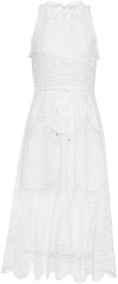 Zimmermann Bonita Linen And Cotton-blend Guipure Lace Midi Dress