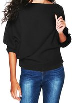 Fashion Story Women's Sexy One Shoulder Pullover Batwing Sleeve Baggy Swearter Jumper