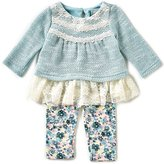 Rare Editions Baby Girls 3-24 Months Sweater-Knit Top & Floral Leggings Set
