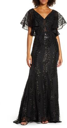 Mac Duggal Sequin Flutter Sleeve Evening Gown