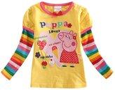FOTTON Pretty Girls Spring Autumn Peppa Pig Cotton Birthday T-shirt (4Y, )