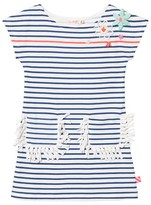 Billieblush Blue Stripe Dress with Flower Applique and Fringe Pockets