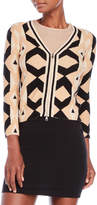 Tracy Reese Zip Front Printed Cardigan