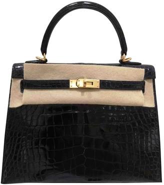 Hermã ̈S HermAs Kelly 25 Blue Crocodile Handbags
