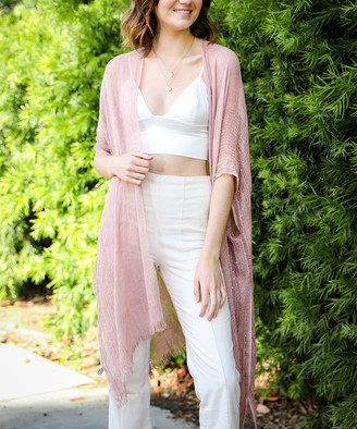 Leto Collection Women's Kimono Cardigans ROSE - Rose Sequin-Accent Fringe-Hem Kimono - Women