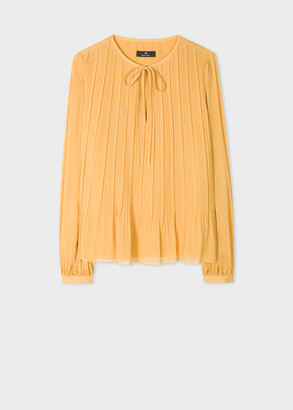 Paul Smith Womens Golden Yellow Tie-Neck Top