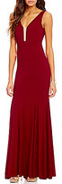 B. Darlin Sleeveless V-Neck Illusion Inset Long Dress