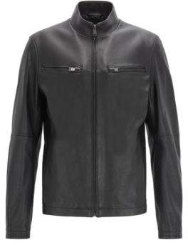 Leather jacket in lamb nappa with zipped sleeves