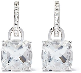 Kiki McDonough 18kt white gold Kiki Classics cushion cut white topaz and diamond detachable hoop earrings