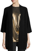 Halston Ribbed Wool-Blend Kimono Cardigan, Heather Black