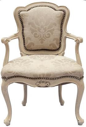 One Kings Lane Vintage Handpainted French Bergere Chair - Fleur de Lex Antiques