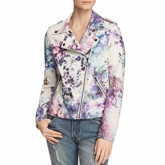 Bagatelle Women's Floral Print Faux Leather Biker Jacket Medium