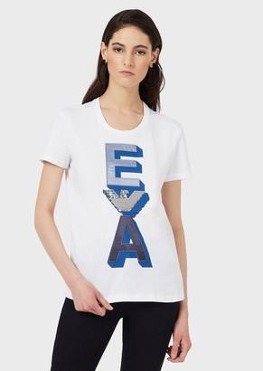 Emporio Armani Jersey T-Shirt With Satin Ea Logo