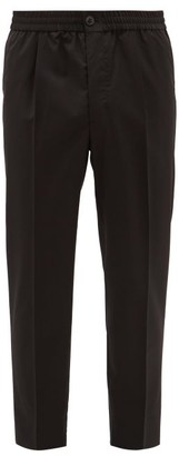Ami Elasticated-waist Cropped Wool Trousers - Black