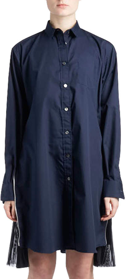 Sacai Long-Sleeve Button-Down Poplin Shirtdress w/ Pleated Sides