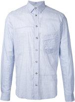 Forme D'expression - striped panelled shirt - men - Silk/Cotton - 46