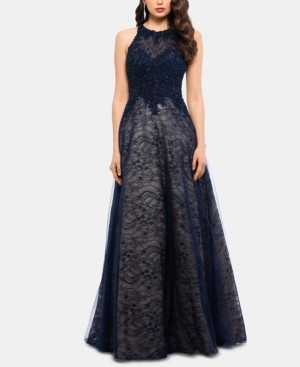Xscape Evenings Lace-Top High-Neck Gown