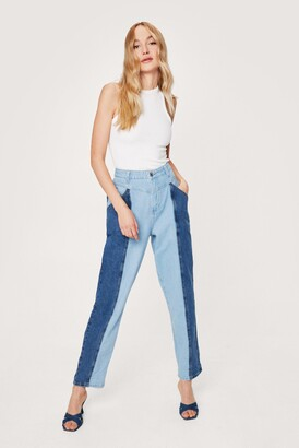 Nasty Gal Womens You Don't Two Tone Me Denim Mom Jeans - Blue
