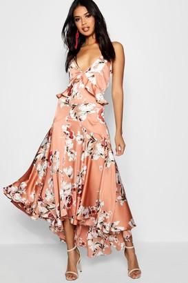 boohoo Boutique Lo Floral Satin Ruffle Dip Hem Dress