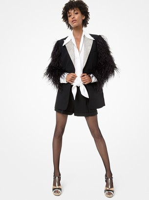 Michael Kors Crystal and Feather-Embroidered Double Crepe Sable Blazer