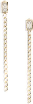 Argentovivo Baguette Crystal Chain Drop Earrings