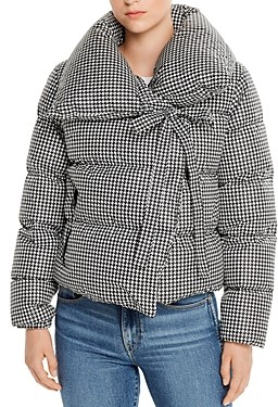 Bacon Puffa Houndstooth Short Down Coat
