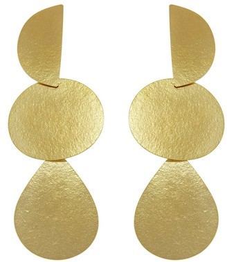 Annie Costello Brown Mattea Brass Drop Earrings