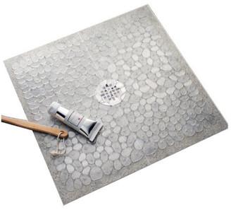 iDesign Pebblz Square Bath Mat, Treads for Shower or Bath Tub, Clear