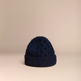 Burberry Aran Knit Wool Cashmere Beanie, Blue