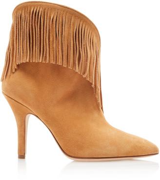 Paris Texas Fringe Stiletto Velour Ankle Boots