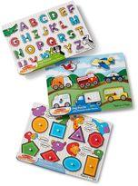 Melissa & Doug Alphabet, Vehicles & Shapes Wooden Peg Puzzle Bundle by