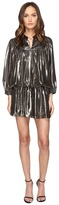 Just Cavalli Long Sleeve Metallic Cinched Drop Waist Dress Women's Dress