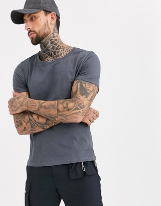 Asos Design DESIGN t-shirt with scoop neck in washed black-Gray