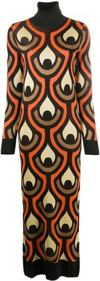 Paco Rabanne Abstract Print Knitted Dress